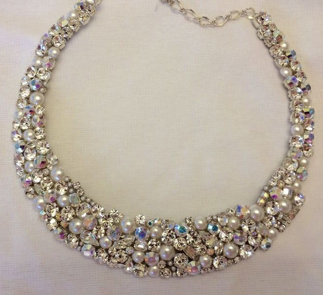 Bridesmaid Silver AB Swarovski /& Ivory Pearls Necklace Bridal Wedding Jewelry
