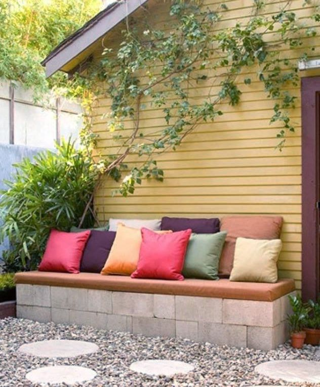 Make your own cinder block outdoor bench