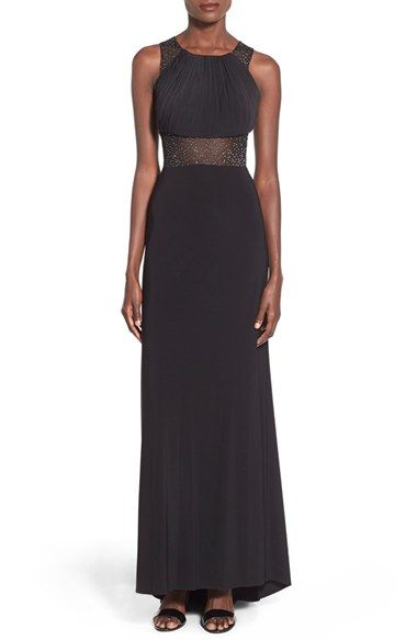 Morgan Co Glitter Mesh Inset Gown Available At Nordstrom