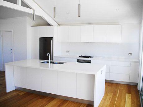 Organic White Caesarstone Quartz Countertops Waterfall Edge On The Island A7lillian Kitchen