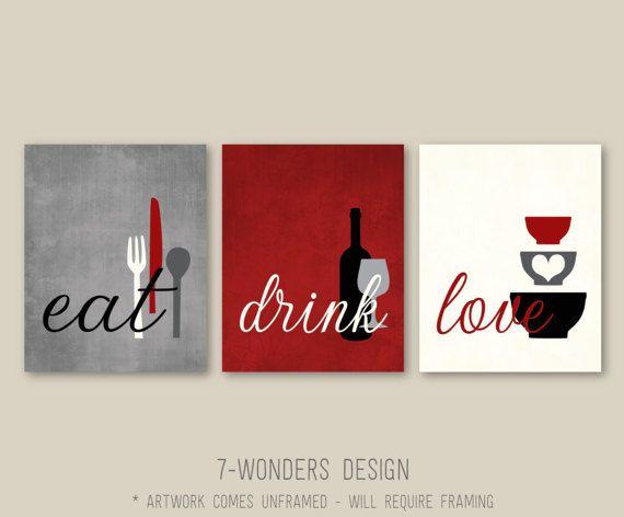 Kitchen Wall Art Print Set Eat Drink Love Rustic Red Grey Etsy Kitchen Decor Modern Kitchen Decor Wall Art Kitchen Decor Sets