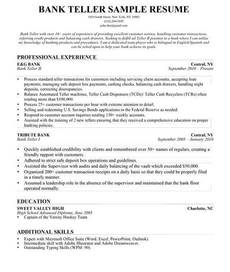 Bank Teller Resume Skills  HttpGetresumetemplateInfo