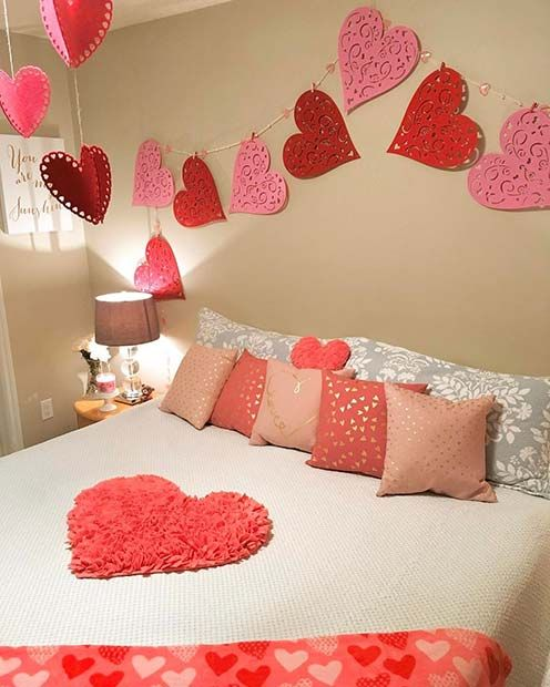21 cute valentine 39 s day decor ideas romantic bedroom - Valentine day room decoration ...