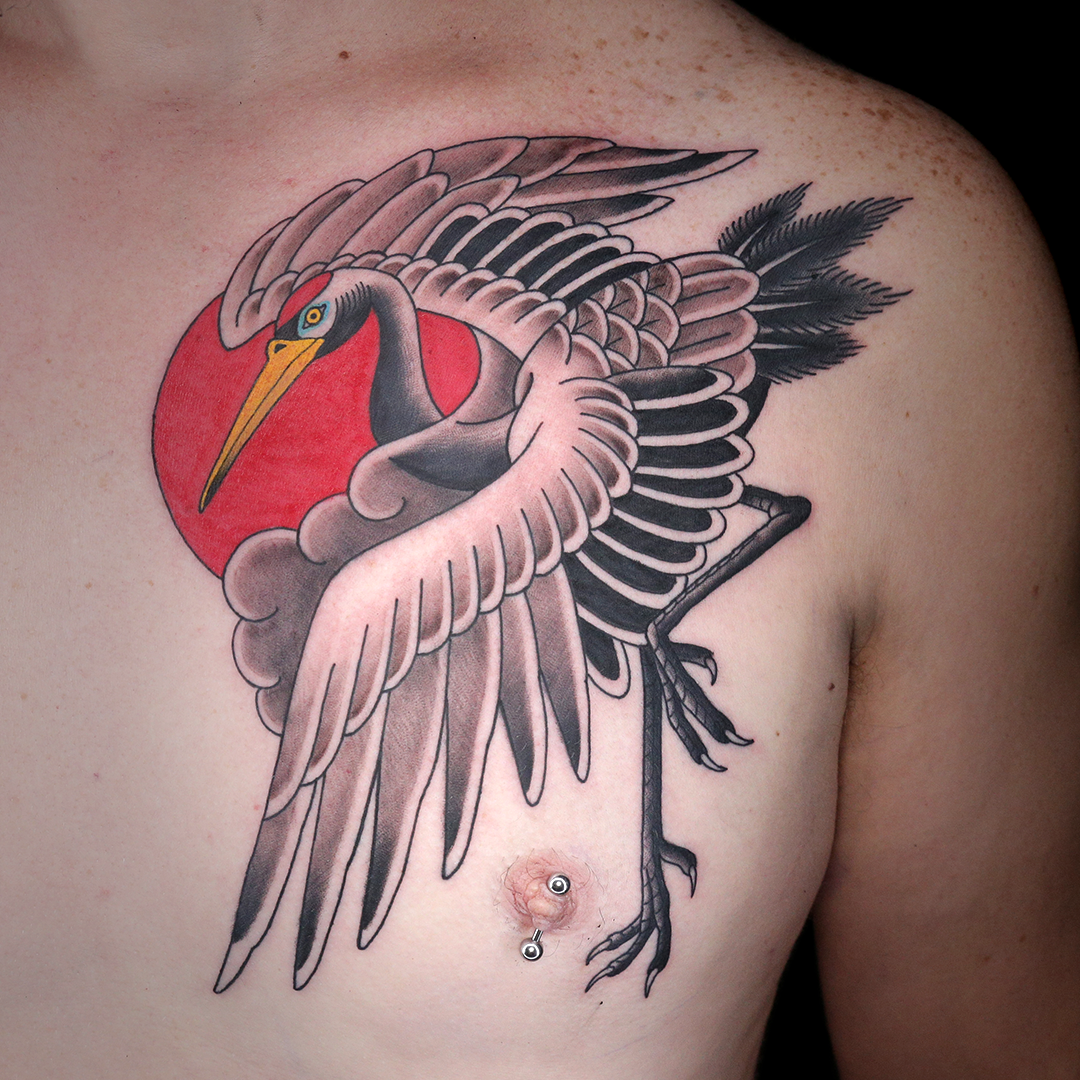 Tattoo By Jimmy Snaz In 2020 Ink Master Tattoos Traditional Tattoo Crane Tattoo