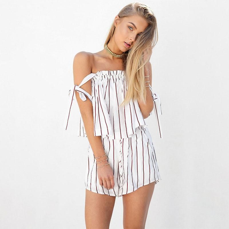 cc1d4f4a9f9 female white bow stripe elegant jumpsuit romper Off shoulder two piece suit  overalls Sexy summer beach playsuit women outfit