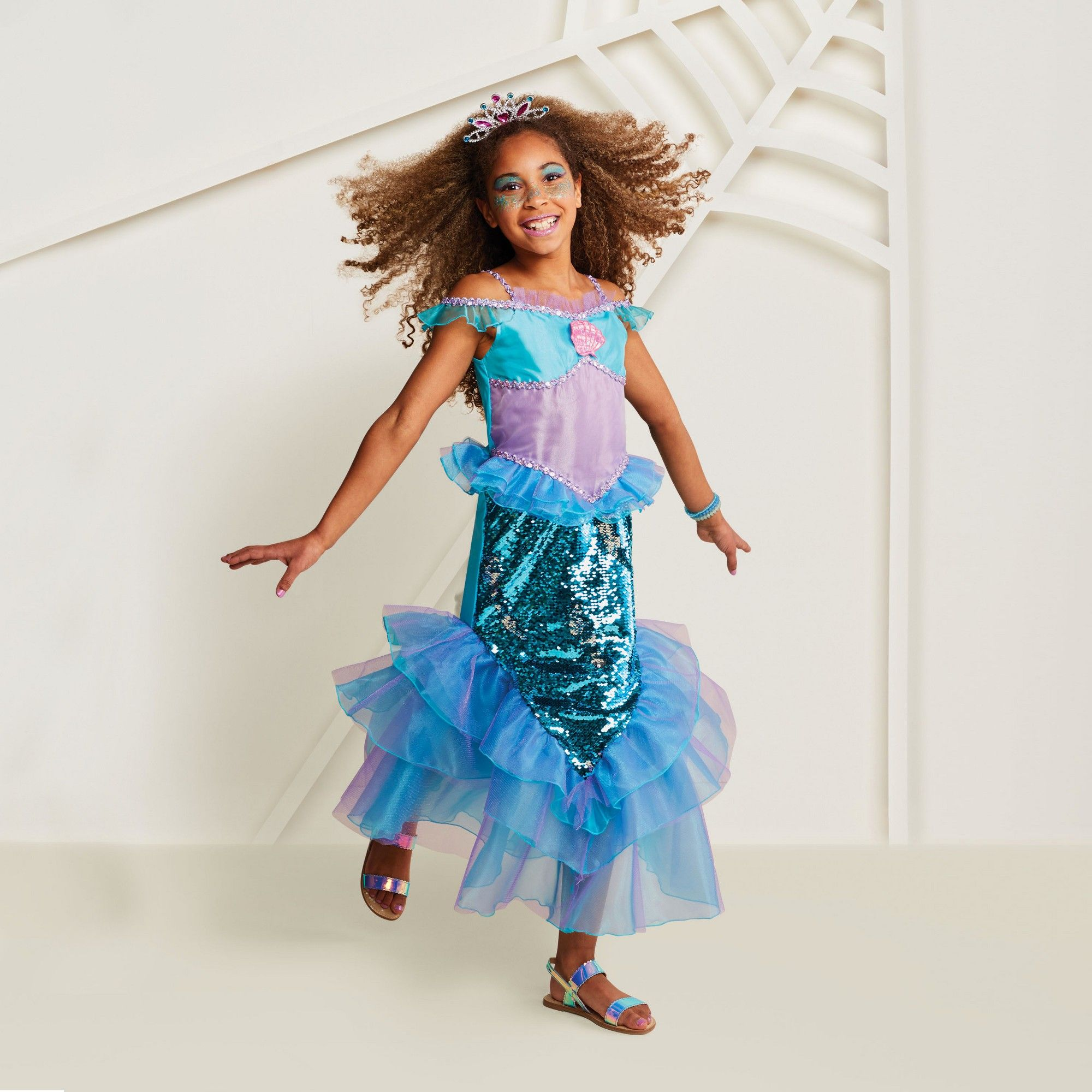 Girls' Deluxe 2sided Sequin Mermaid Halloween Costume L