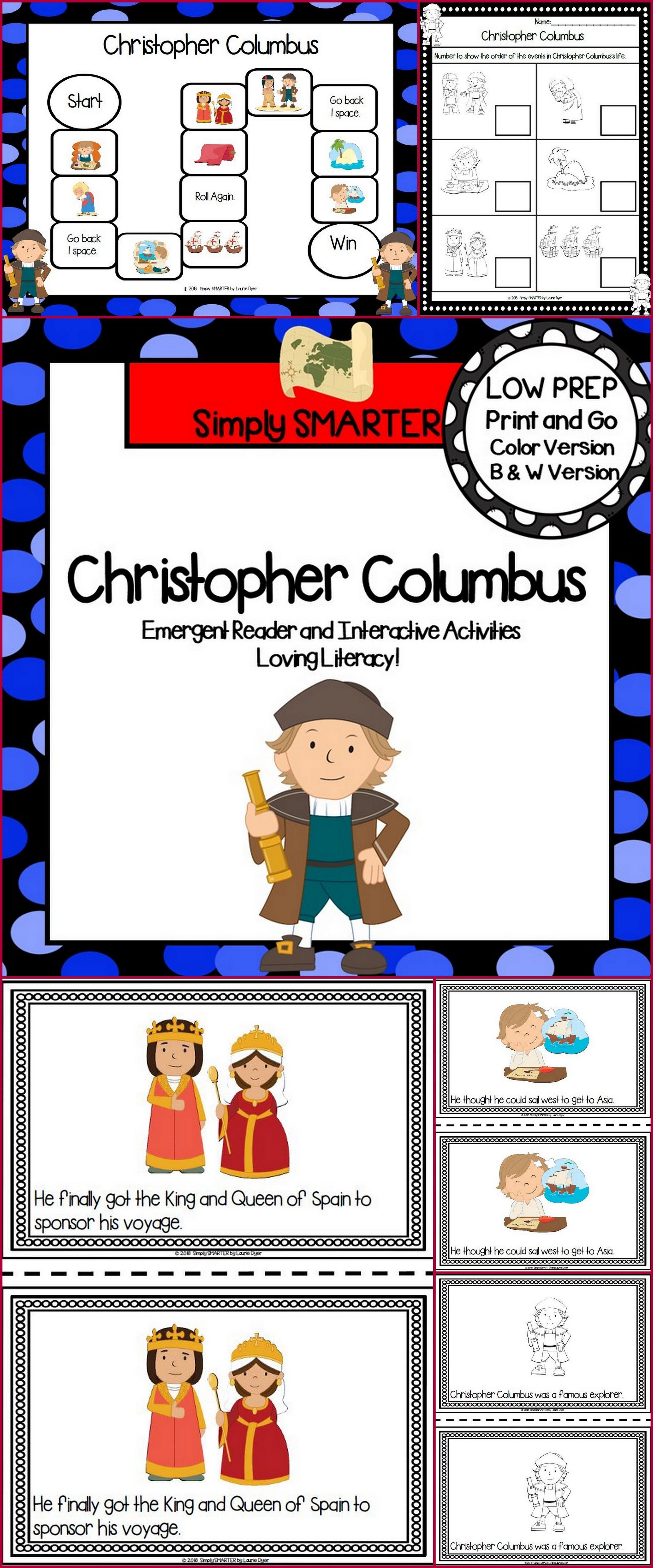 Christopher Columbus Emergent Reader Book And Interactive