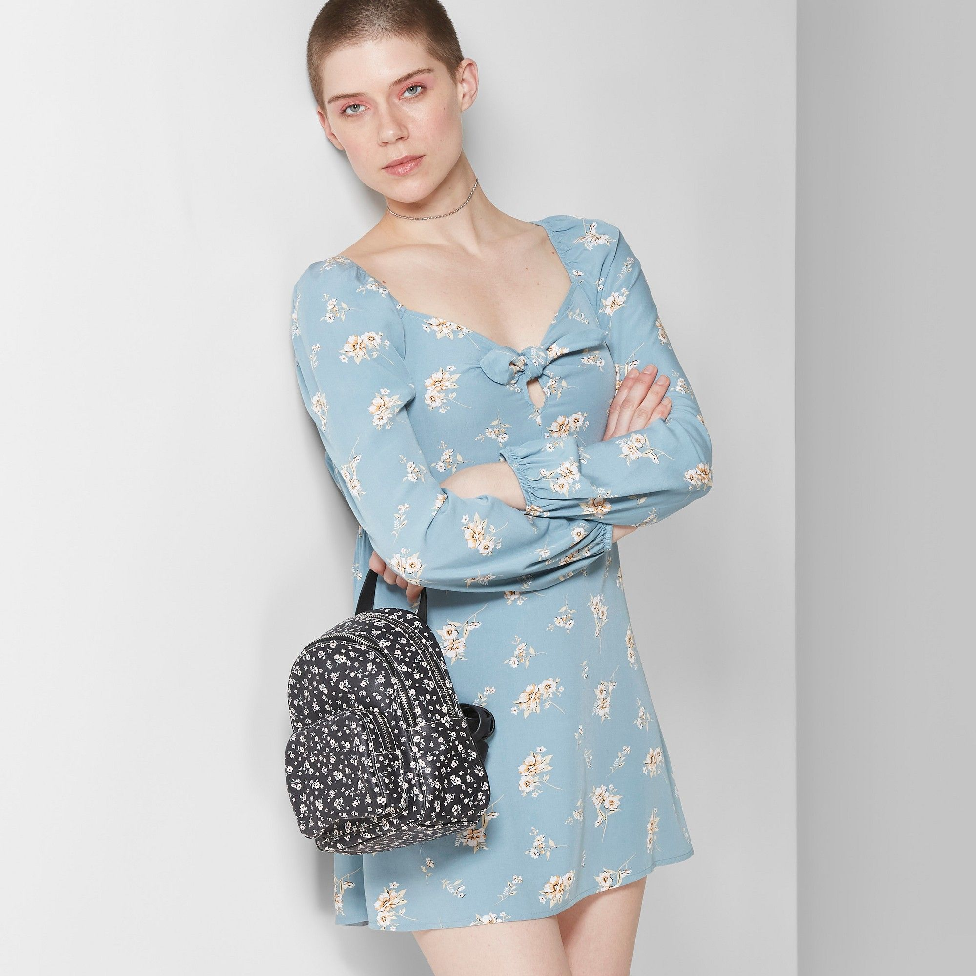 a657d039b Women's Floral Print Long Sleeve Bow Front Dress - Wild Fable Blue  Stencil/Ivory Xxl