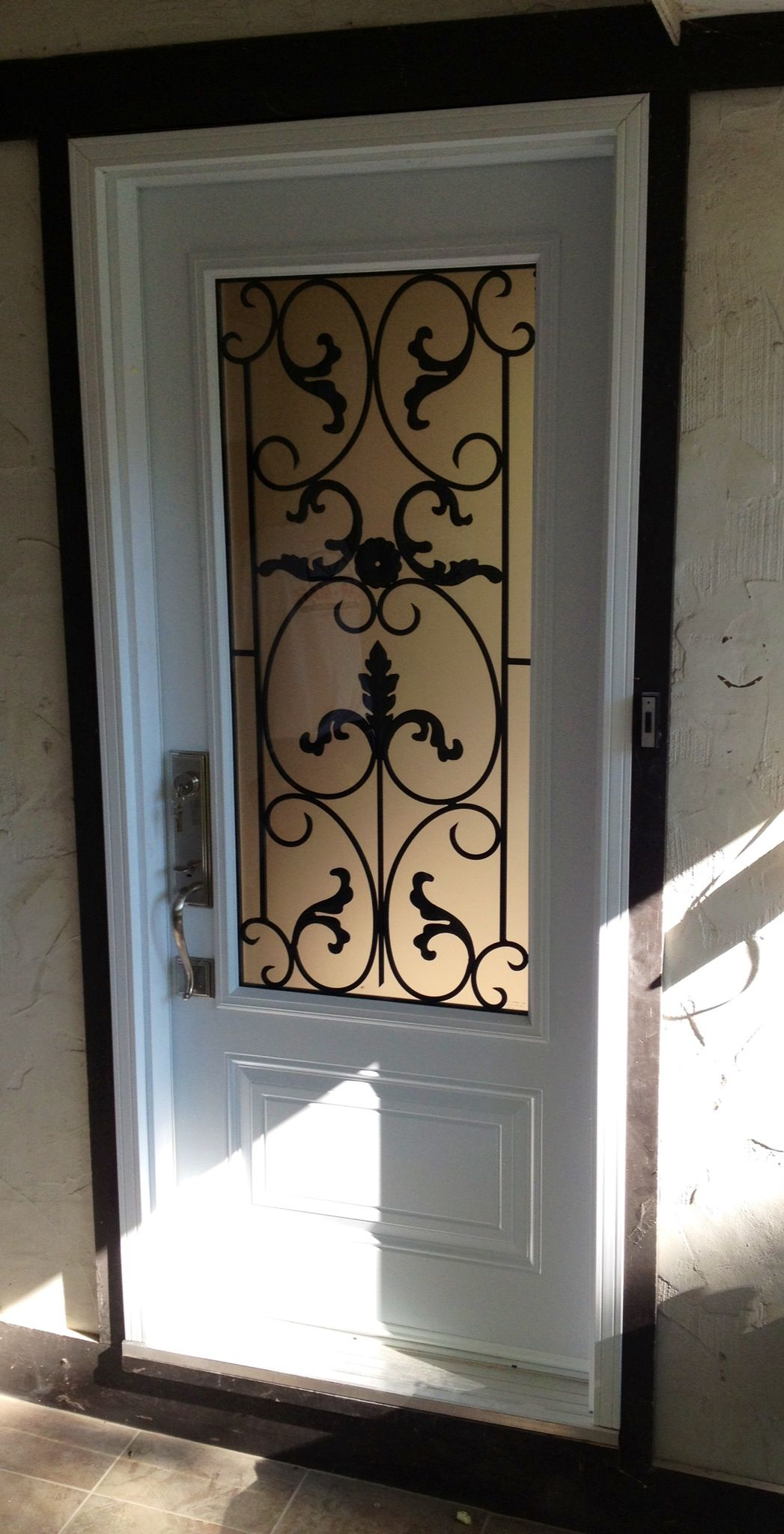 Single Doorhalf Glass With Wrought Iron Front Entry Door Love The