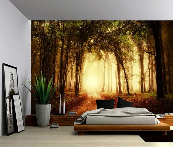 Autumn Golden Forest Path - Large Wall Mural, Self-adhesive Vinyl ...