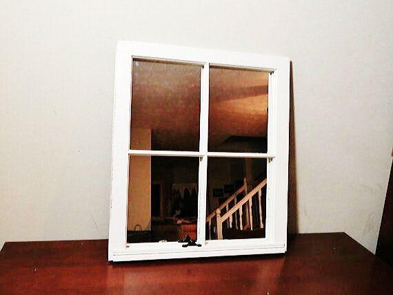 4 Pane Wood Window Mirror White Wood Window Mirror Frame Pane Vintage Distressed To Wood Wall Mirror Large Frame 24 Window Mirror Wood Windows White Wood