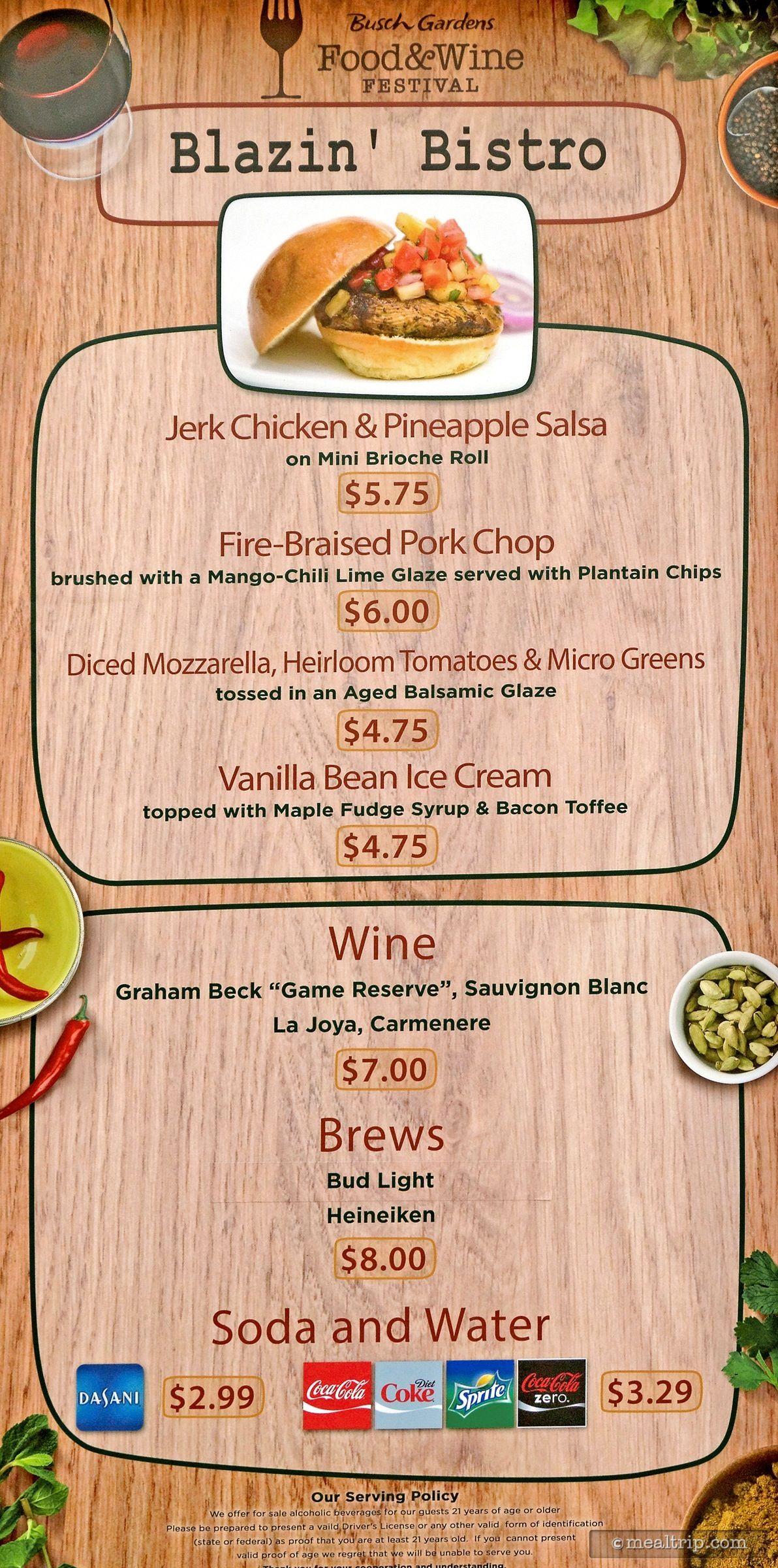 the blazin u0027 bistro menu from the 2015 busch gardens food and wine