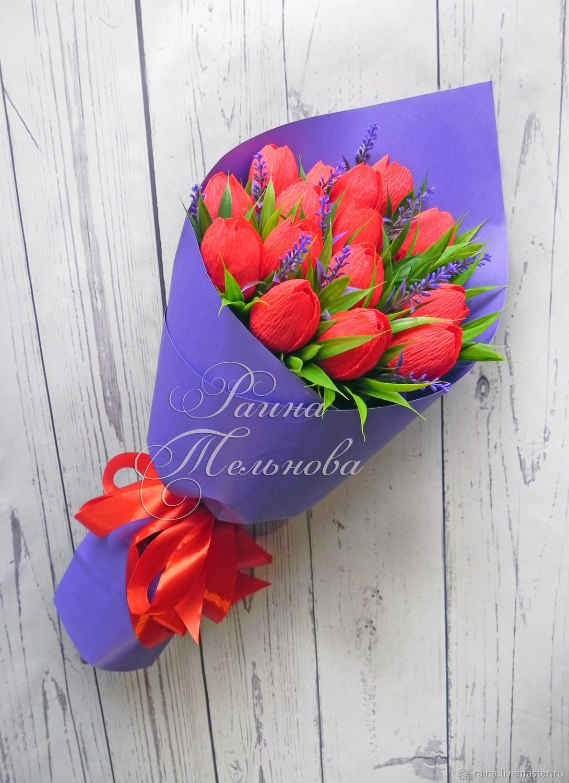 Букетики к 8 марта из конфет, магазина цветов к 14 февраля
