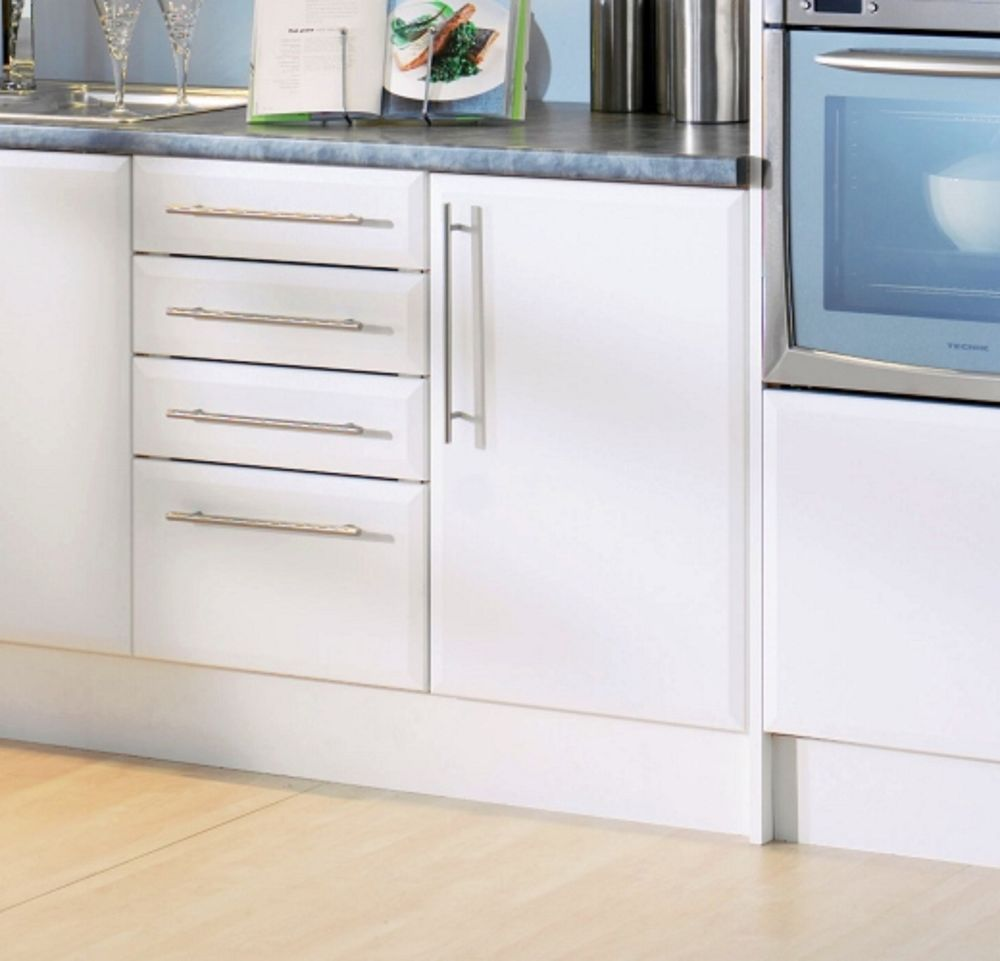 Beveled Edge Satin Matt White Kitchen Cupboard Doors Fit