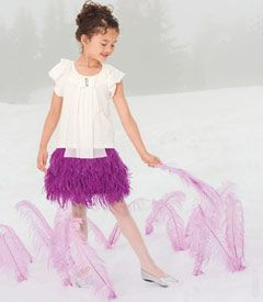 purple ostrich skirt, with a sequin tank for the girls?