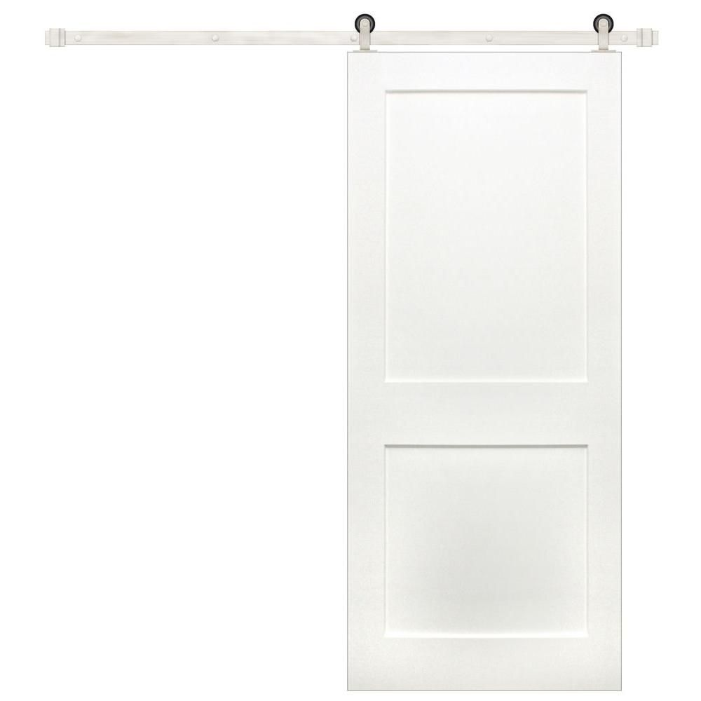 Pacific Entries 36 In X 84 In Shaker 2 Panel Primed Pine Wood Interior Sliding Barn Door With Satin Nickel Hardware Kit P3220 36 15 The Home Depot Interior Sliding Barn Doors Interior Barn