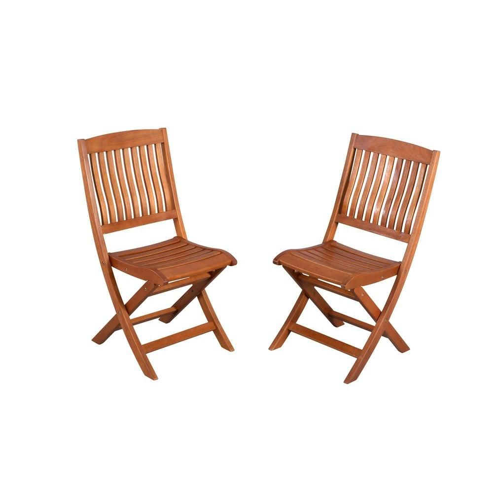 hampton bay adelaide eucalyptus patio dining side chairs 2 pack