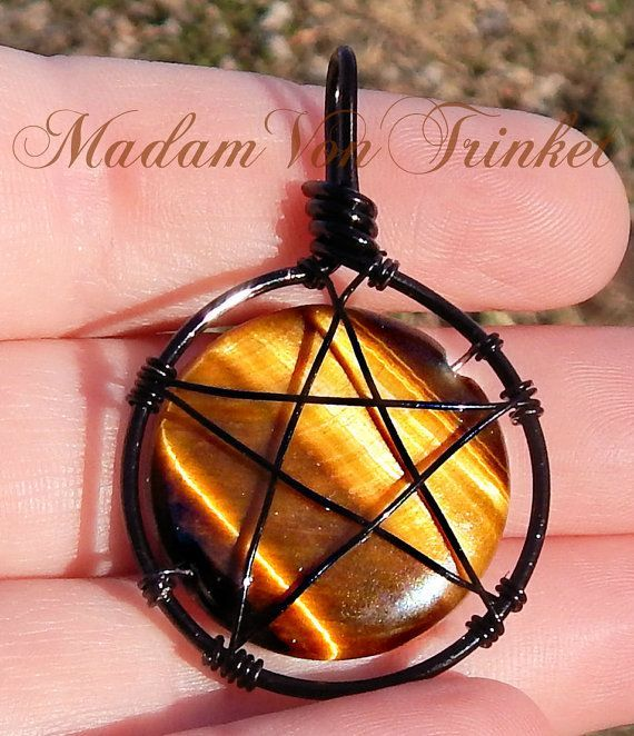 Wire Wrapped Supernatural Inspired Pentacle Tiger Eye Pendant -  Wire Wrapped Supernatural Inspired