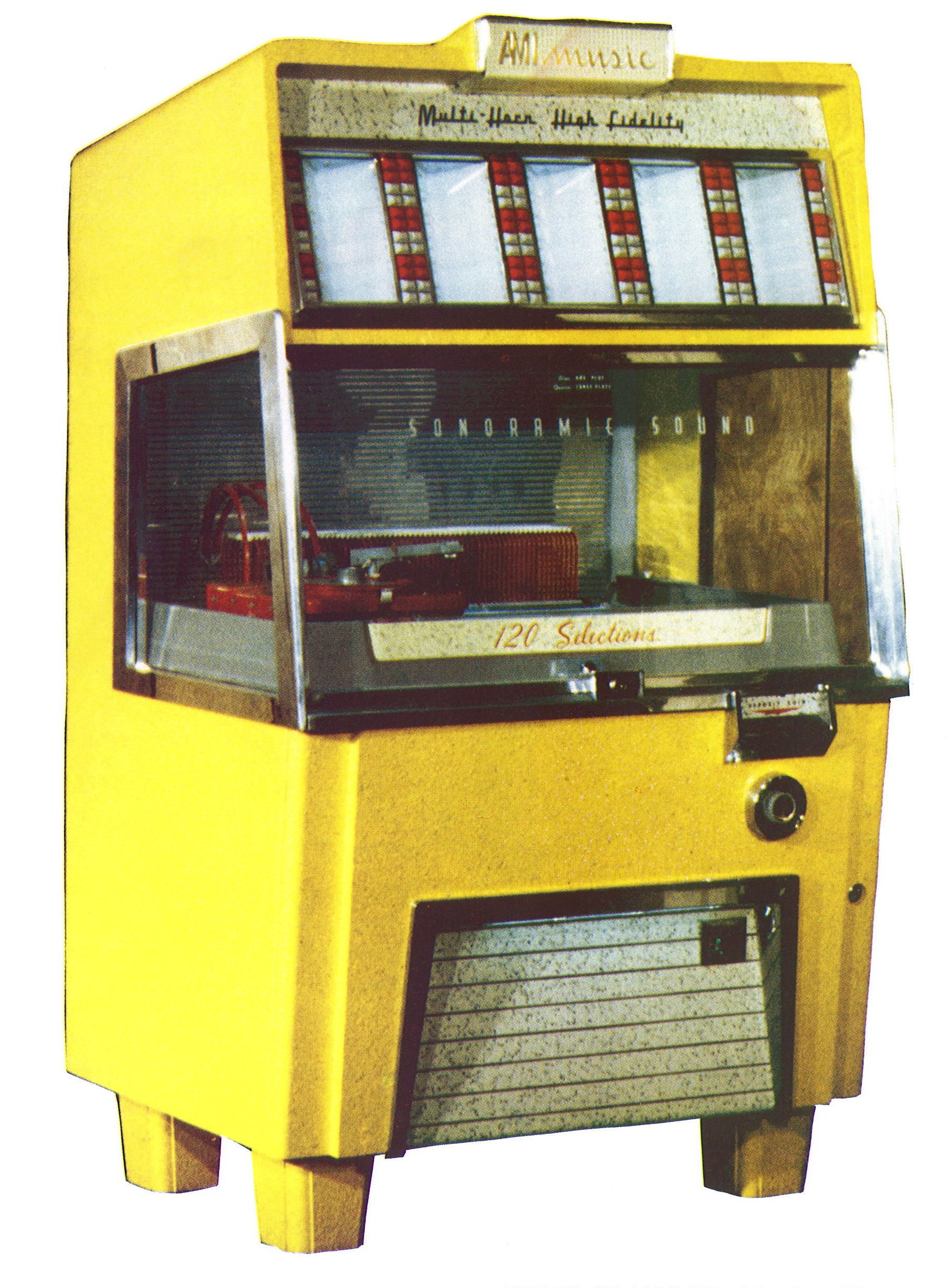 1954, AMI's Model F-120: Available in the following colors- charcoal, yellow, red, blue, brown, coral, and green [Jukebox Collector]