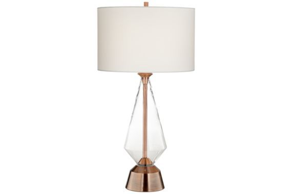 Bellini Copper Clear Glass Prism Modern Table Lamp - #EU1H375 - Euro Style Lighting