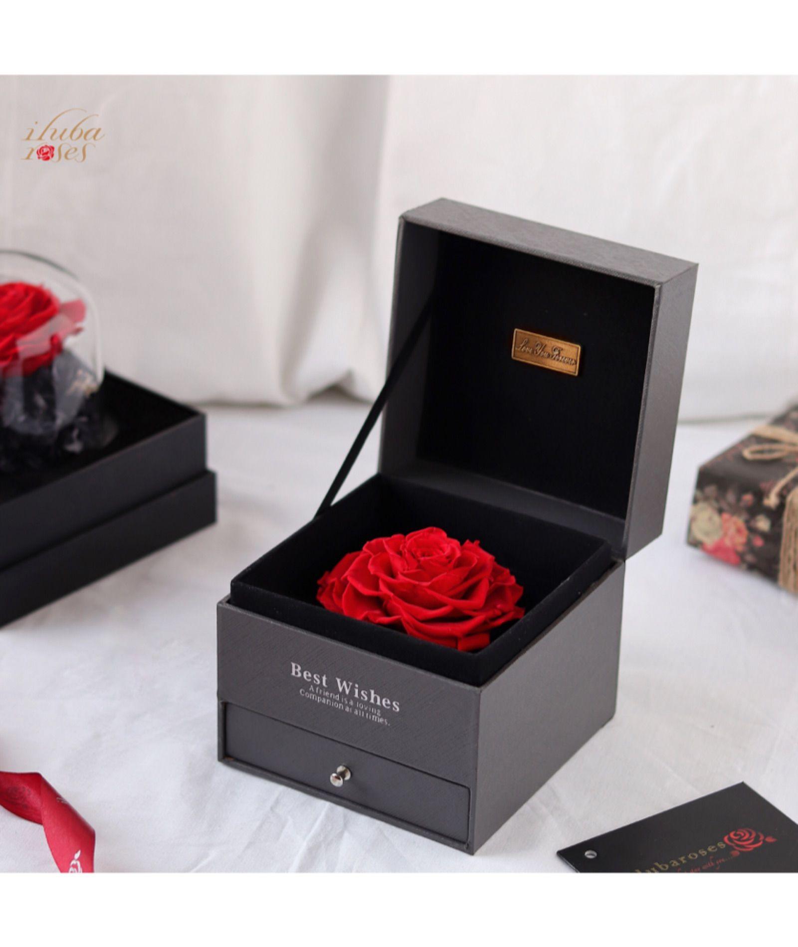 وردة ايلوبا روز احمر الدائمة داخل صندوق هدية All Things