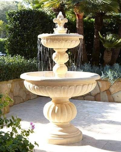 Lionhead Stonecast Fountain outside Fountain, Garden fountains