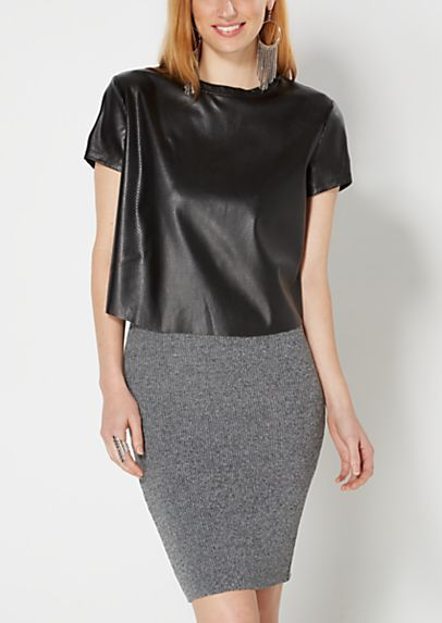 image of Black Mesh Faux Leather Skimmer Tee