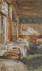De eetzaal | schilderij van een restaurant interieur in olieverf van ...