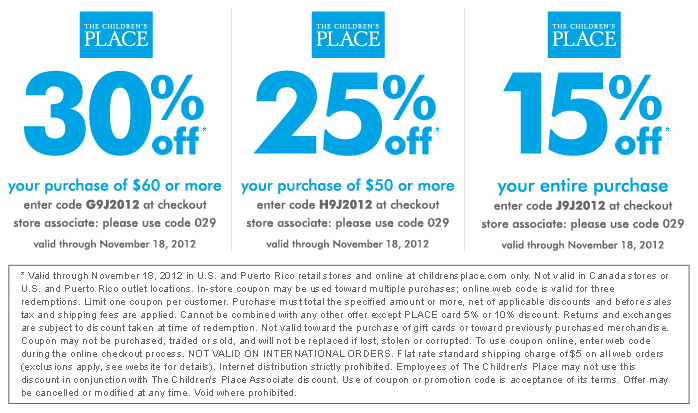 All the discounts and coupons for childrensplace.com are manually  tested.Valid Coupon Childrens Place Coupon Code Printable Promo Codes  Printable coupons ...