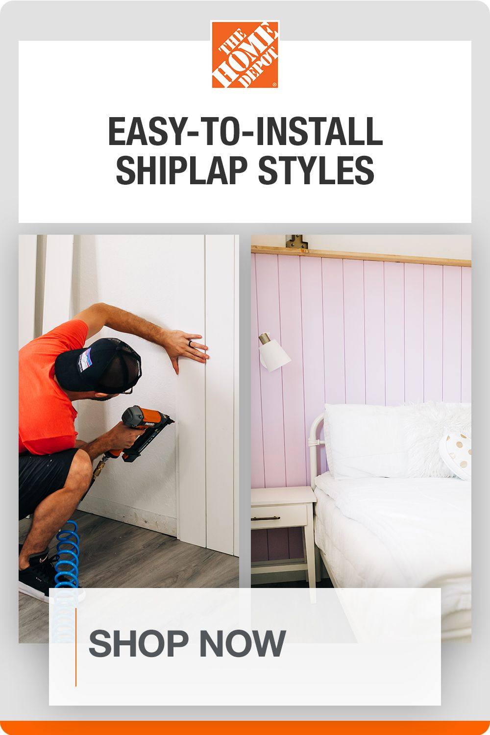 Personalize your look and add texture to any room with a variety of shiplap styles. Rent the tools you need, and use our easy-to-follow how-to guides to create a customized space. Tap to shop shiplap looks at The Home Depot.