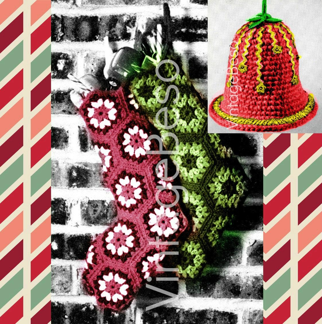 1970'S Christmas Stocking Crochet Pattern Cool Decorating Ideas
