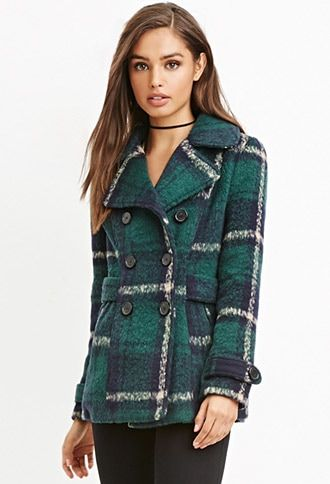 Navy,green FOREVER21  trench  for woman details Style Deals - A long-sleeved coat in a tartan plaid pattern with a notched lapel, a double-breasted front, slanted front pockets, and a partially belted waist. Content + Care - Belted cuffs, fully lined- Midweight, woven- Shell: 81% polyester, 10% acrylic, 6% rayon, 2% nylon, 1% wool; Lining: 100% polyester- Dry clean only- Made in China Size + Fit - Measured from Small- 26.5%22 full length, 38%22 chest, 36%22 waist, 24%22 sleeve length #trench