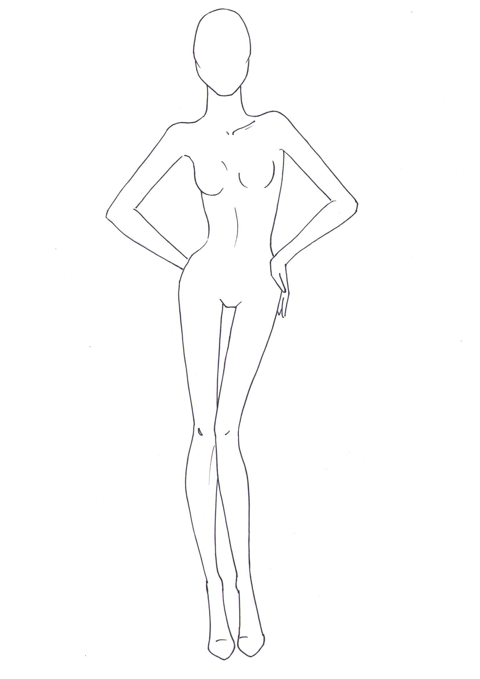 Fashion Model Outline : fashion, model, outline, Fashion, Drawing, Templates, Tutorials, Illustration, Template,, Figure, Drawing,, Design, Template