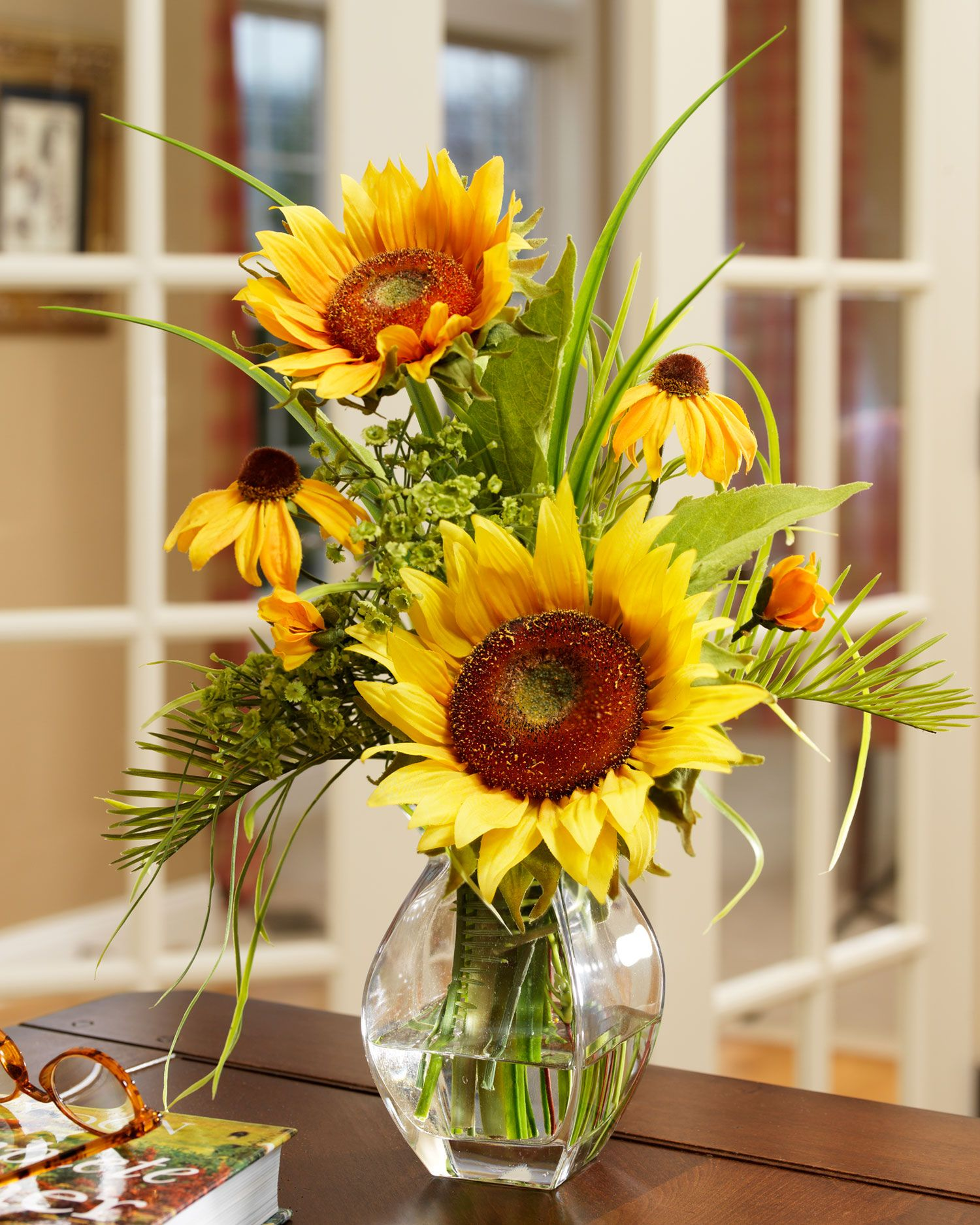 Tabdescription brighten the day a sunrise serenade of silk sunflower silk flower arrangement yellow check this awesome product by going to the link at the image dhlflorist Images