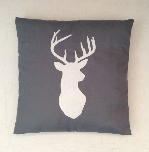 Stag  Grey & White Cushion Pillow Cover with a by BeUniqueBaby