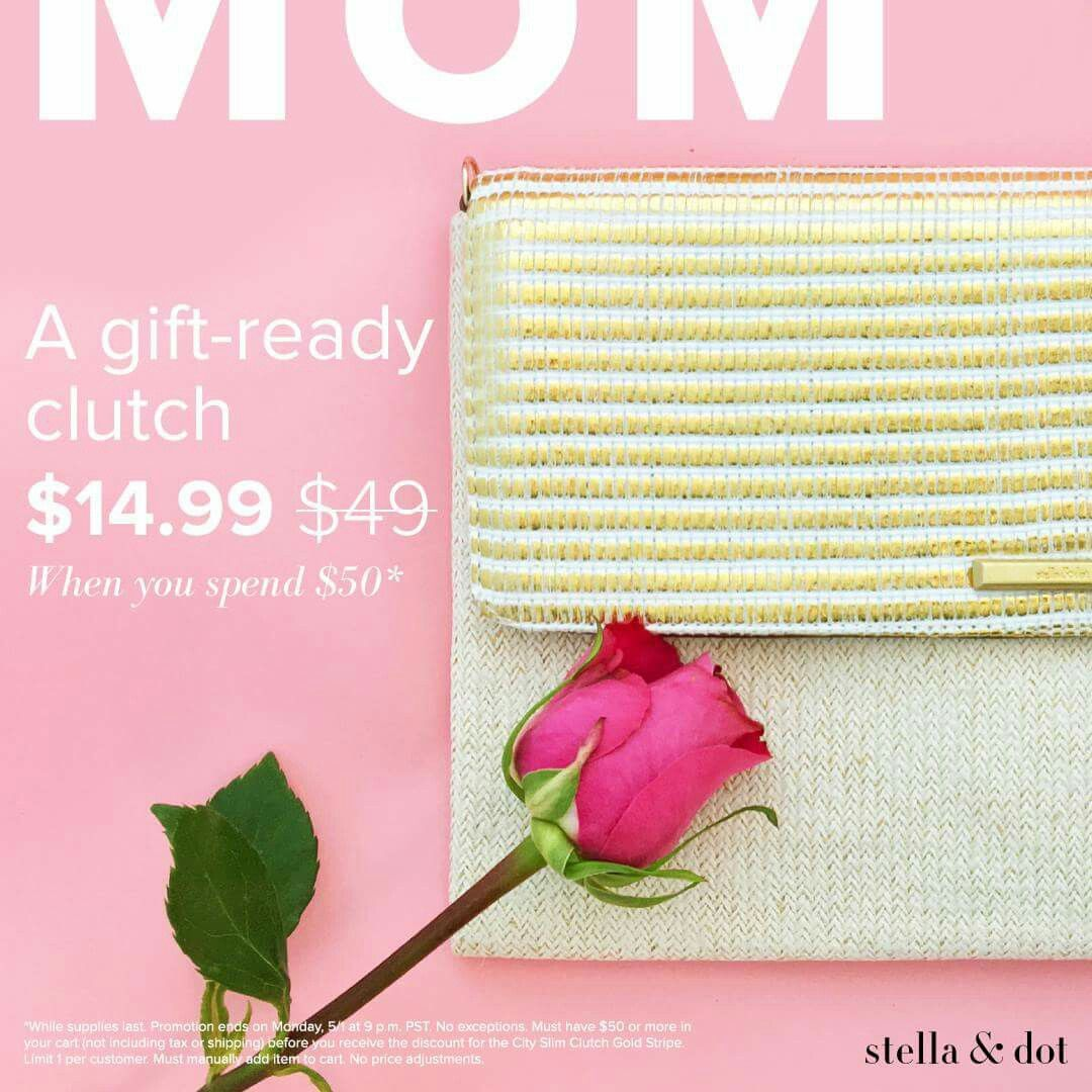 Looking for that perfect Mother's Day gift today through Monday 5/1 this city slim clutch in gold is $14.99 with any $50 purchase. #sdjoy #stelladotstyle