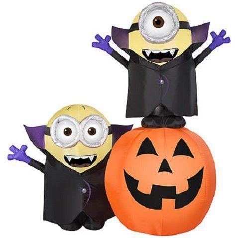 Halloween Lighted Minion Pumpkin Outdoor Inflatable Yard Decoration - halloween lighted decorations
