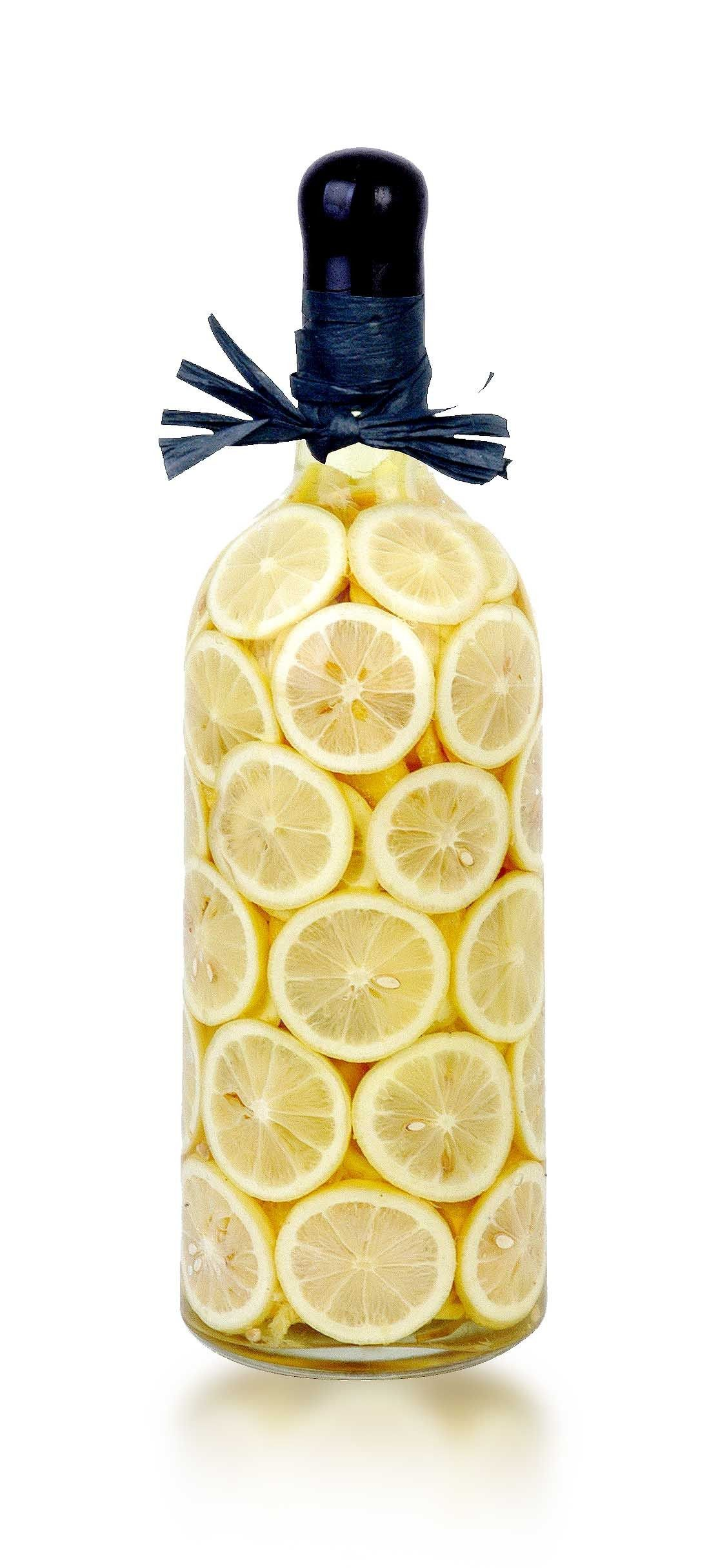 Decorative Infused Olive Oil: LIMONE Decorated Vinegar Bottle