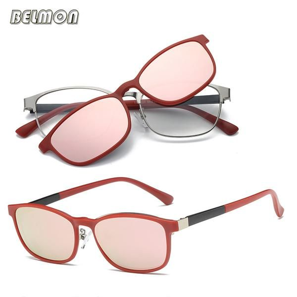b64aec1426 Belmon Spectacle Frame Men Women Eyeglasses With Polarized Clip On Sunglasses  Magnetic Myopia Glasses Male Driving