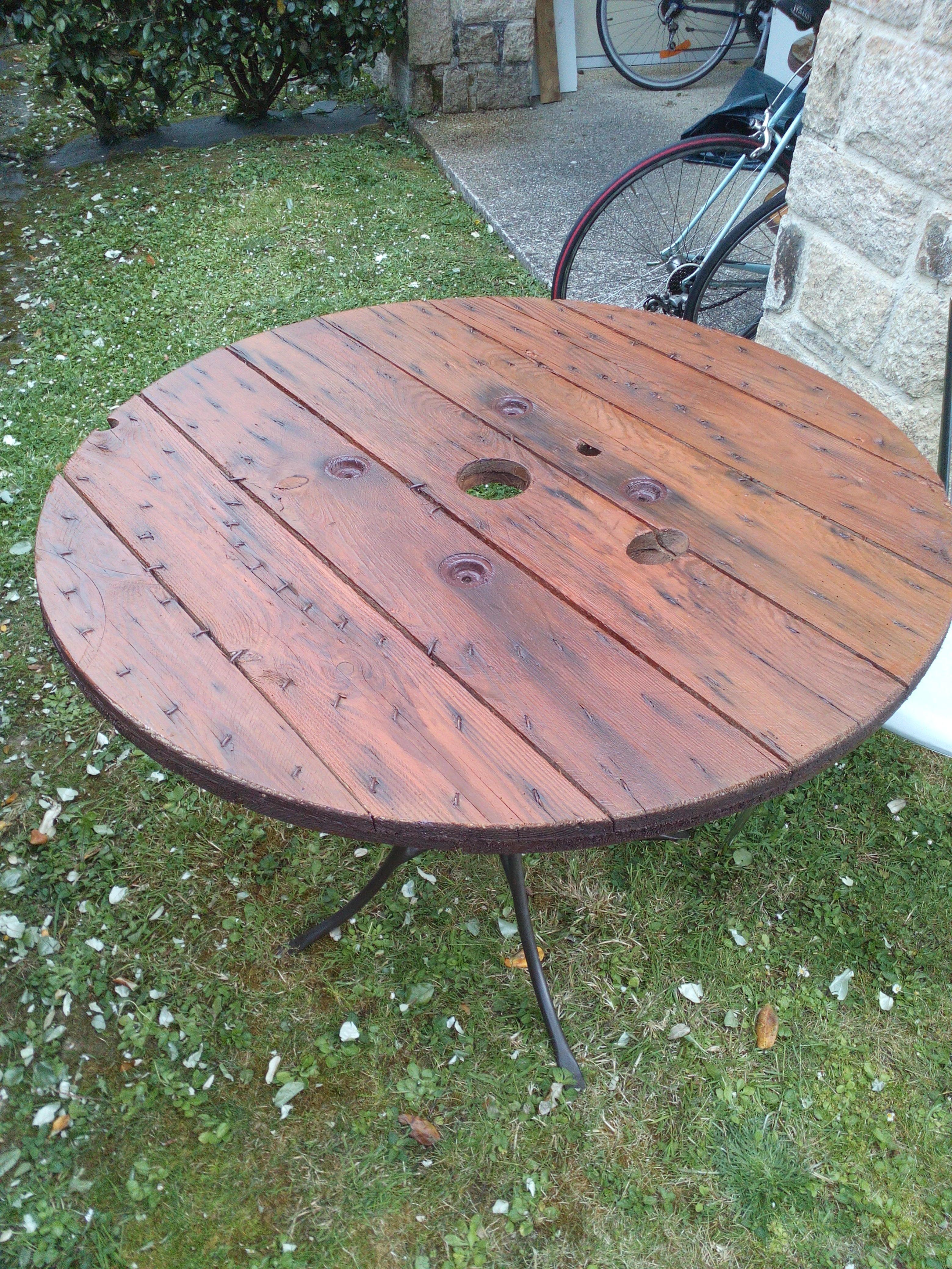 Et voilà l\'envers de la table, table de jardin, fer forgé, plateau ...