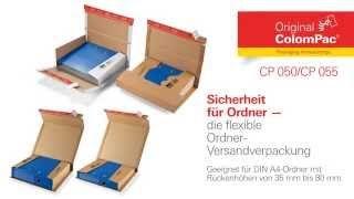 Flexible #Ordner-Versandverpackung für DIN A4-Ordner von #ColomPac®. • #Dinkhauser Kartonagen Vertriebs GmbH, #Selbstklebeverschluss, #Aufreißfaden, #Versandverpackung, #Wellpappe