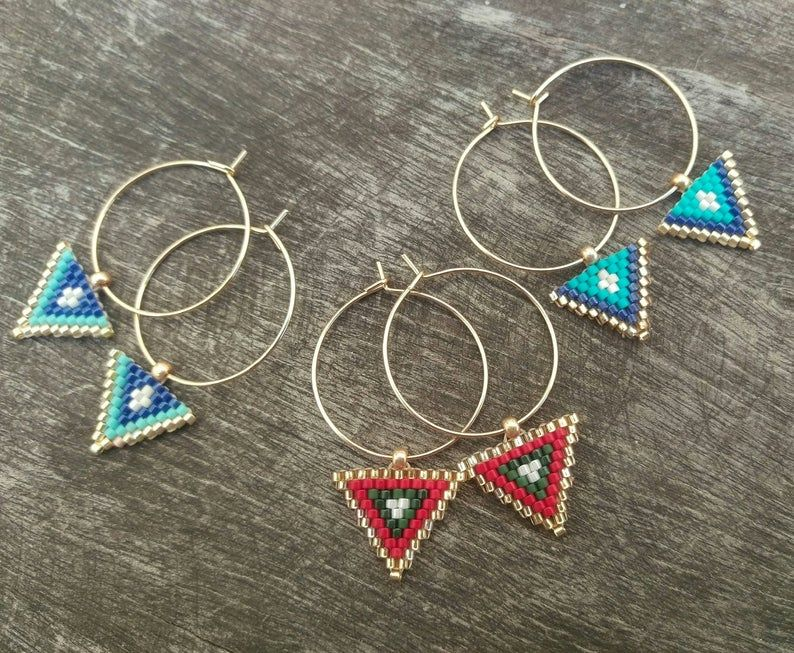 Blue Miyuki Earrings Triangle Beaded Earrings Hoop Earrings | Etsy