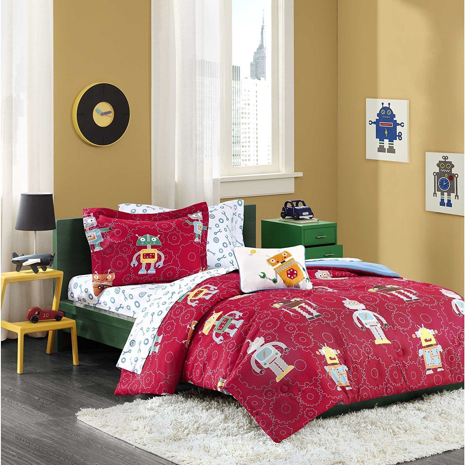 8 Piece Boys Cute Outerspace Robot Themed Comforter Full Set,
