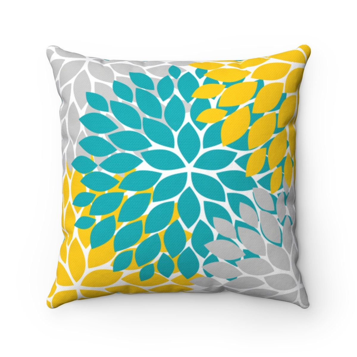 Teal Yellow Gray Flower Pillow Cover Throw Pillow Modern Etsy Teal Yellow Grey Teal Yellow Flower Pillow