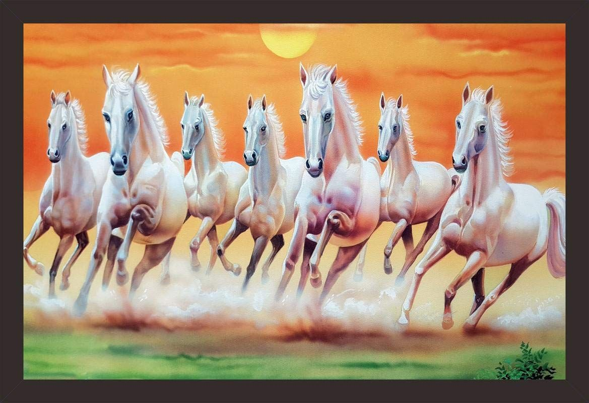 Mad Masters Seven Running Horses Vastu Painting Uv Textured Print 18 X 12 Amazon In Home Kitch Horse Wallpaper White Horse Painting Horse Canvas Painting