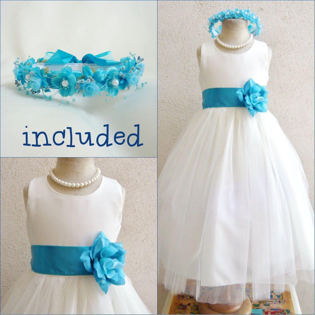 Gorgeous Ivory Turquoise Malibu Blue Flower Girl Dress Free