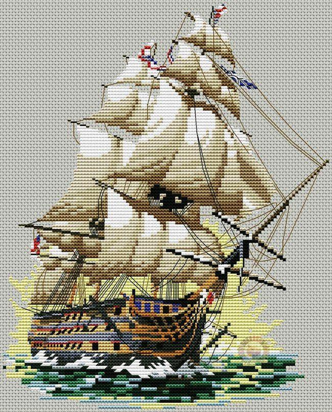 Вышивка корабль схема скачать фото 983