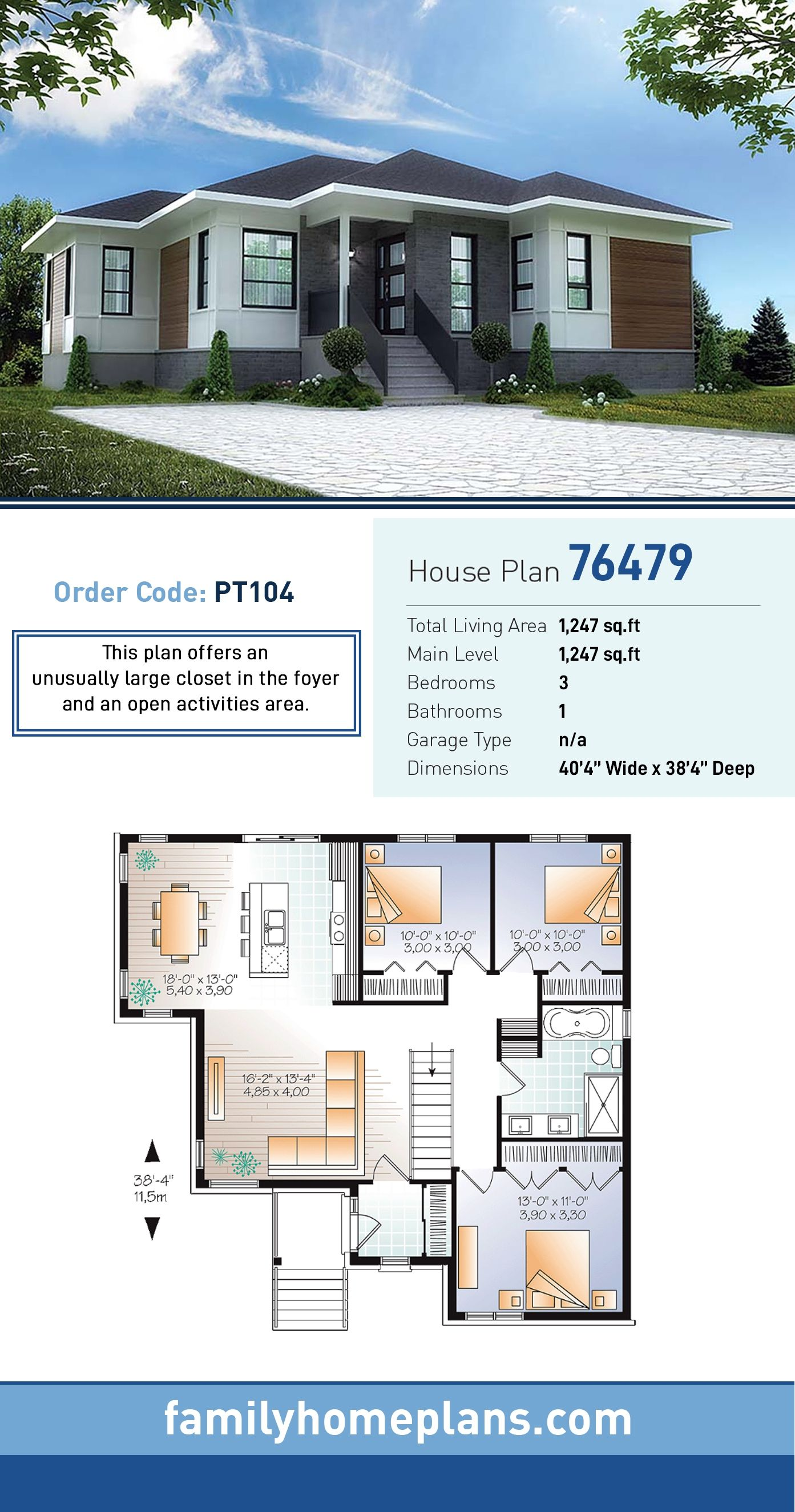 Ranch Style House Plan 76479 With 3 Bed 1 Bath In 2020 House Plan Gallery Beautiful House Plans Ranch Style House Plans