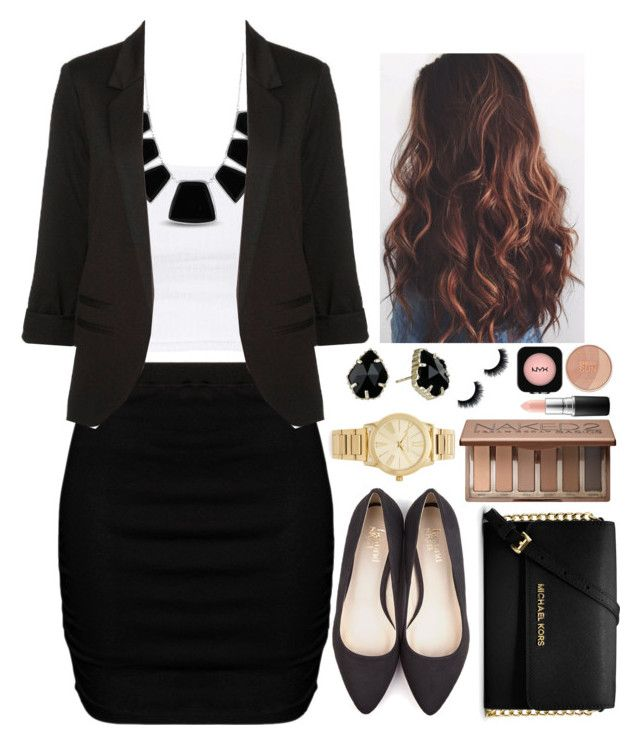 """""""Business Outfit"""" by twaayy ❤ liked on Polyvore featuring Zizzi, Topshop, Karen Kane, WithChic, Beyond Skin, MICHAEL Michael Kors, Kendra Scott, Michael Kors, MAC Cosmetics and Urban Decay"""