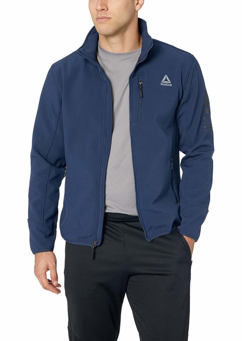 Reebok Men S Standard Softshell Active Jacket Vestee With Striped Hem Navy Shopinzar Com Active Jacket Mens Jackets Outerwear Jackets [ 1127 x 800 Pixel ]